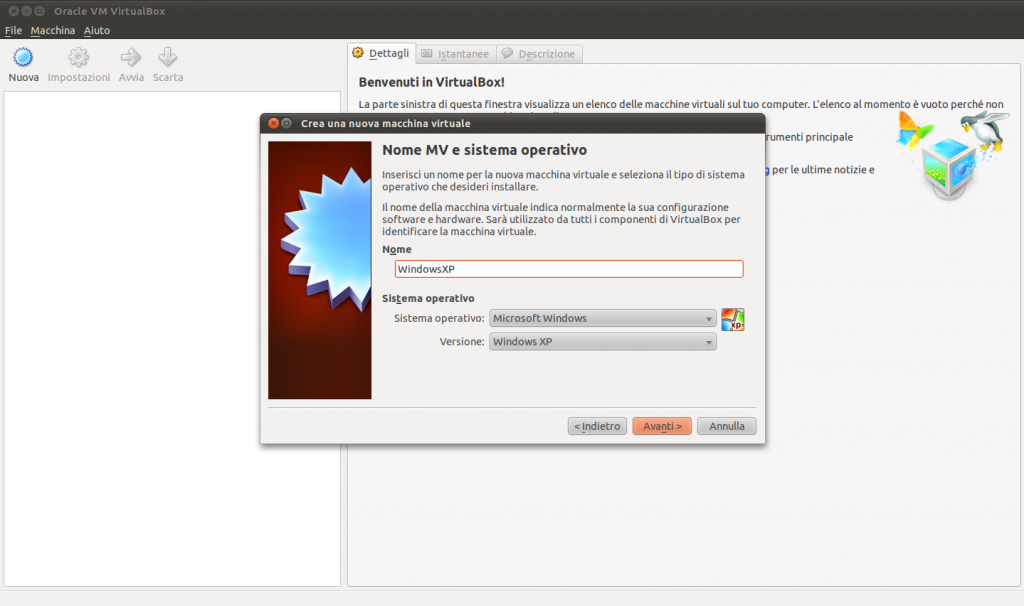 Windows in Ubuntu Linux con VirtualBox