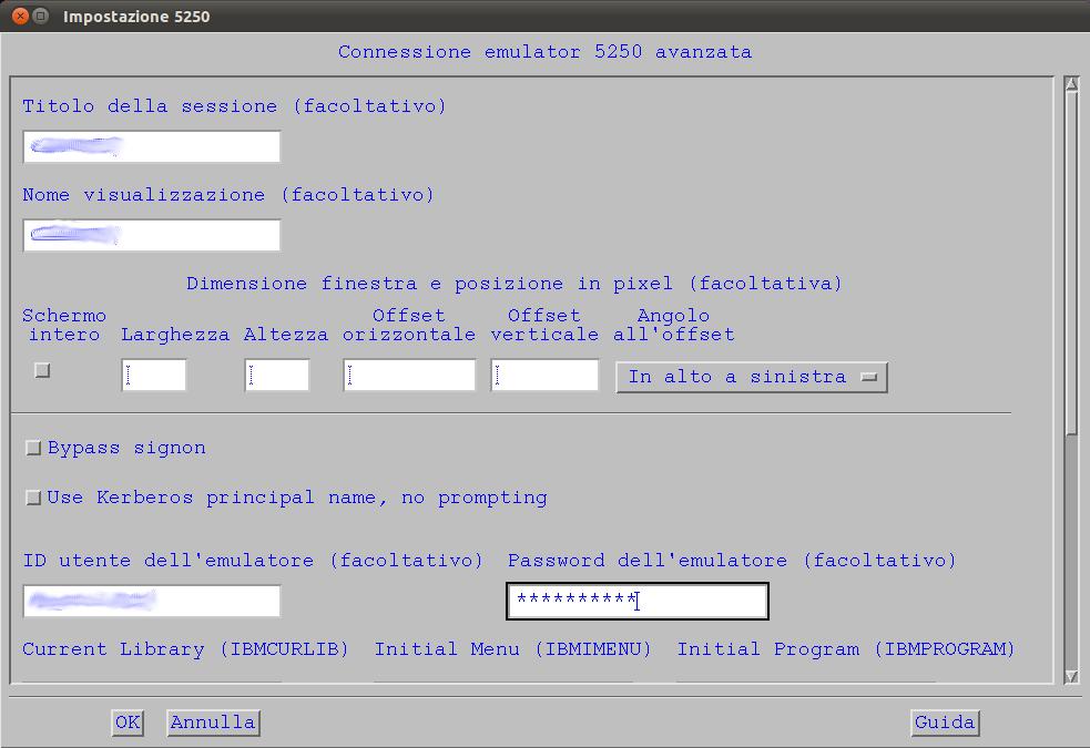 iSeries Access for Linux - Impostazioni avanzate 5250
