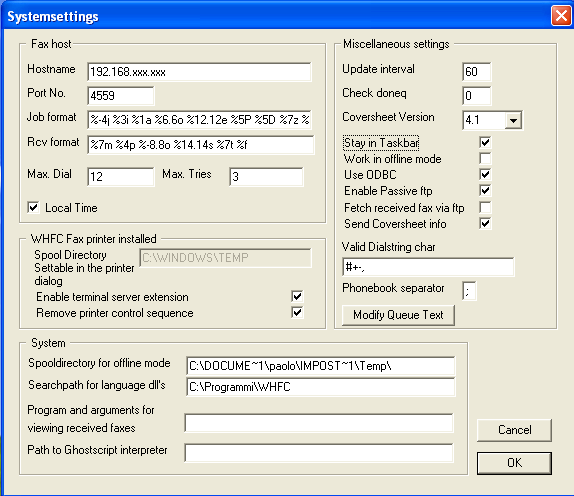 WHFC - System Preferences