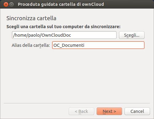 ownCloud - scelta cartella