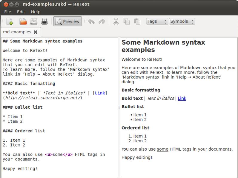 Markdown Retext Linux