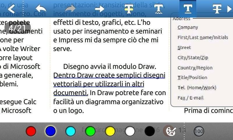 Foxit mobile PDF - Sottolineatura