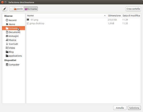 Creare il collegamento di un App sul Desktop in Ubuntu
