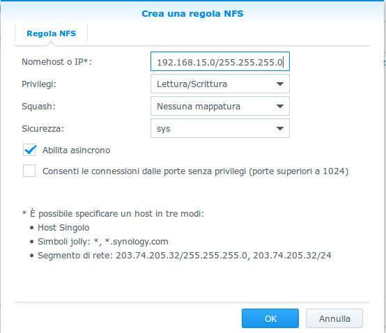 NAS Synology cartelle condivise NFS